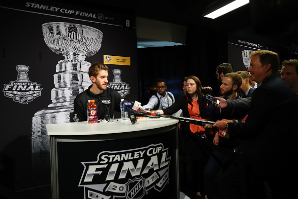 Matt Murray chats with reporters on Stanley Cup Media Day Sunday in Pittsburgh (Getty Images).