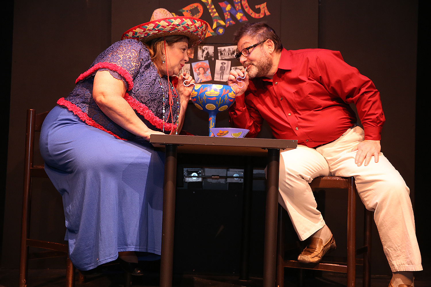Betsy Bittar and Marc Jon Filippone find each other in the New Phoenix Theatre production of Kalamazoo.