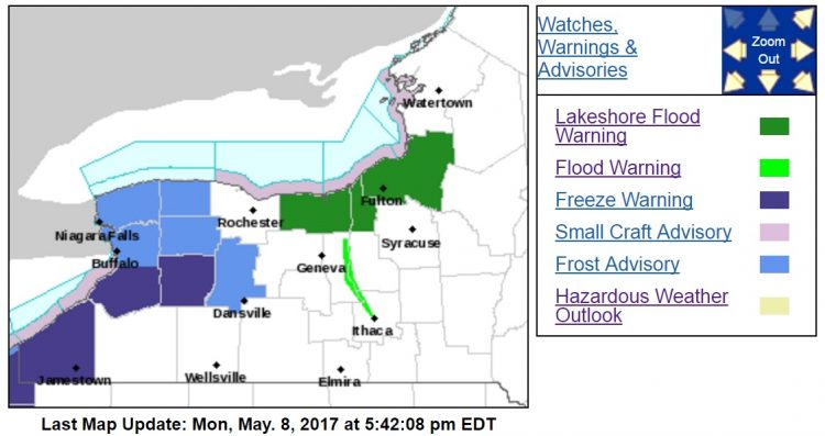 The National Weather Service has posted a freeze warning from 10 p.m. until 9 a.m. Tuesday in southern Erie, Chautauqua and Wyoming counties. A frost advisory is in place for northern Erie, Niagara, Orleans and Genesee counties. (National Weather Service)