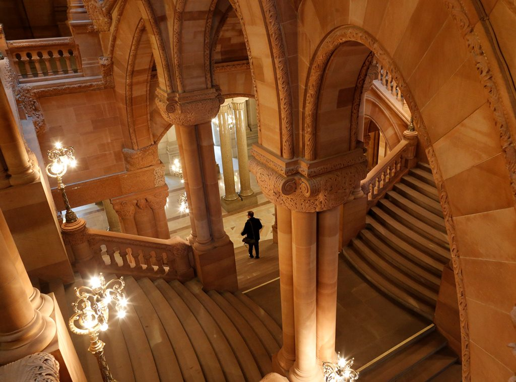 "A view of the ""Million Dollar Staircase"" in the New York State Capitol in Albany. (Derek Gee/Buffalo News)"