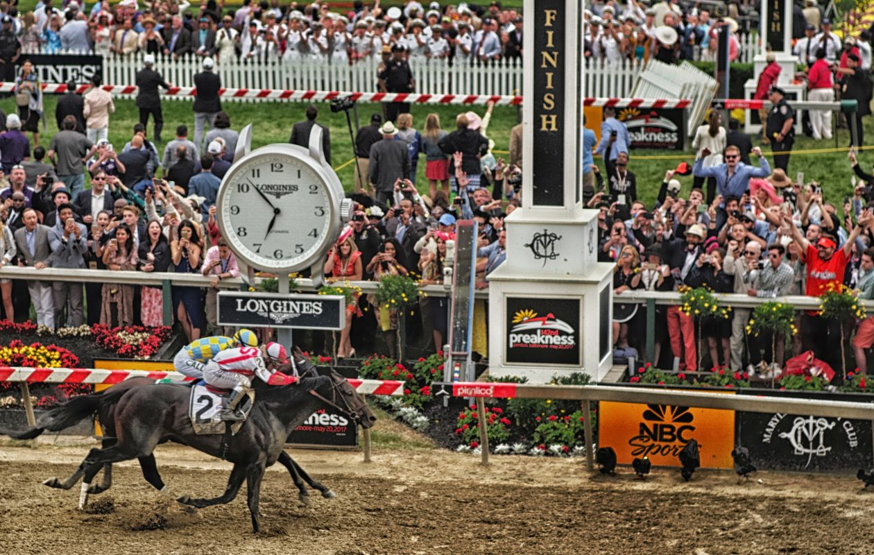 Cloud Computing nails Classic Empire by a head in Preakness 142. Photo Credit: Jon Kral/Maryland Jockey Club