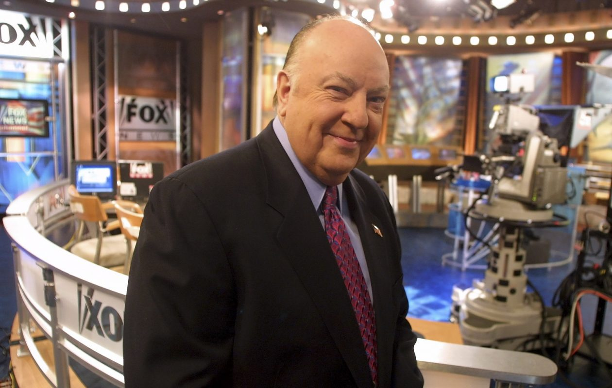 Roger Ailes, the co-founder of Fox News, during a broadcast from the network's studios in New York, Jan. 11, 2002. Ailes died Thursday in Florida. He was 77. (Angel Franco/The New York Times)