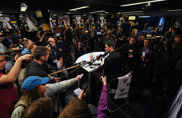 Sidney Crosby got plenty of attention Sunday at Media Day in Pittsburgh (Getty Images).