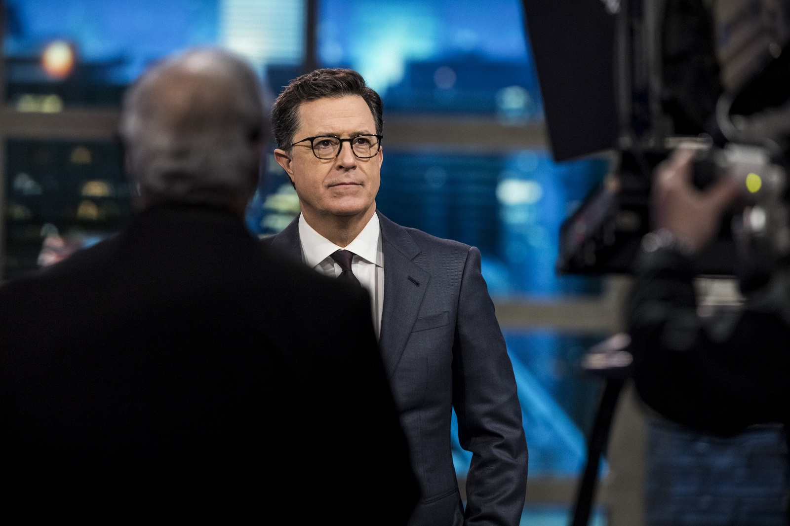 """Stephen Colbert during a taping of """"The Late Show"""" at the Ed Sullivan Theater in New York. (Chad Batka/The New York Times)"""