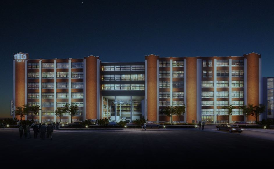 Plans for the former Trico Products Corp. building on Washington Street include a dramatic entry for car traffic. (Rendering courtesy Krog Group)