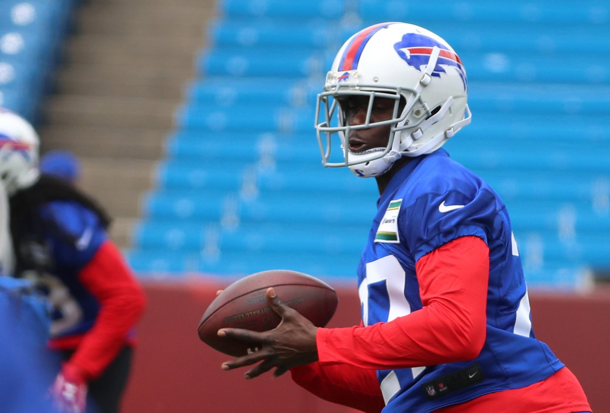 Bills cornerback Tre'Davious White, the team's first round draft pick, went against second-round pick Zay Jones in practice Friday. (James P. McCoy/Buffalo News)