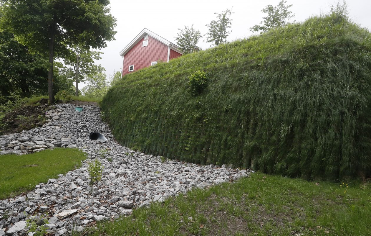 Willamsville's new green wall, photographed on Friday May 26, 2017,  is part of green infrastructure recently installed in the village to reduce stormwater runoff into Glen Park and Ellicott Creek. (John Hickey/Buffalo News)  https://www.epa.gov/G3/learn-about-green-streets#Anatomy-of-a-Green-Street