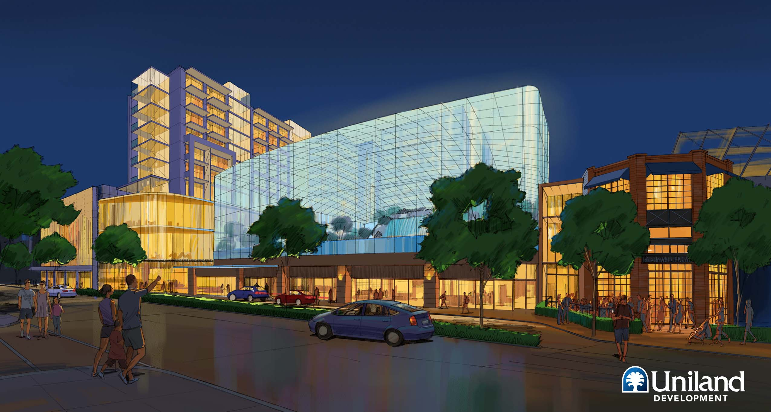 An architect's rendering of the revised Wonder Falls plan. (Courtesy Uniland Development Co.)