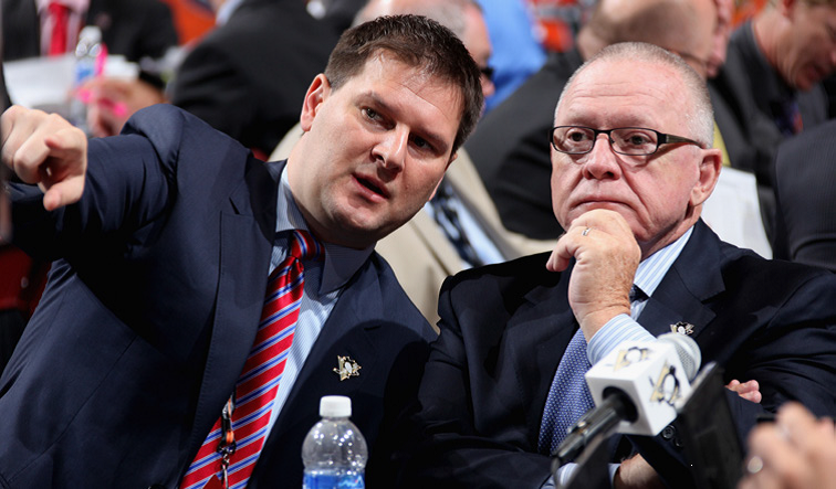 Jason Botterill, left, has been a key contributor to the success of Pittsburgh and General Manager Jim Rutherford. (Photo courtesy of Pittsburgh Penguins)