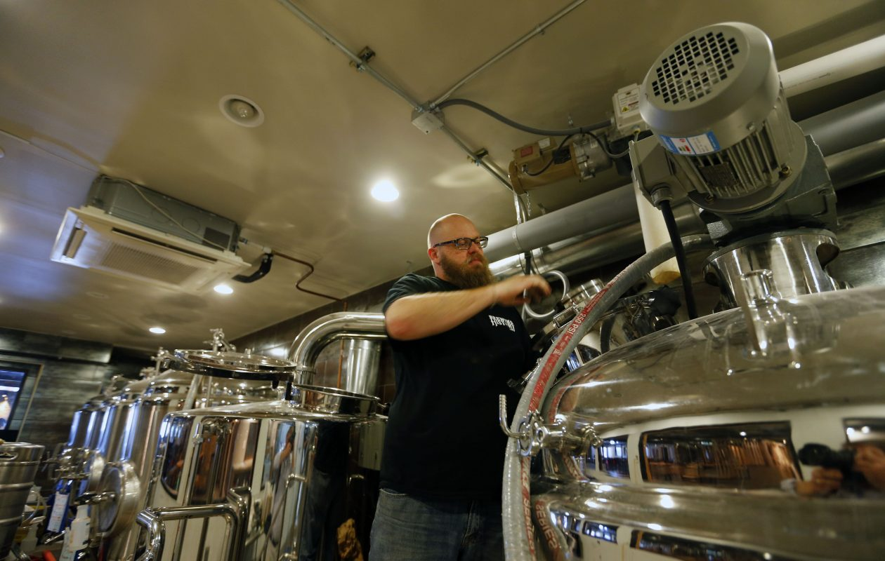 Brickyard Brewing Co. brewmaster John Meteer will use a 7-barrel system from Portland, Ore.,  to craft up to six brewery standards, as well as rotating seasonal beers and lots of small batches from a Sabco Brew Magic pilot system in the brewhouse. (Mark Mulville/Buffalo News)