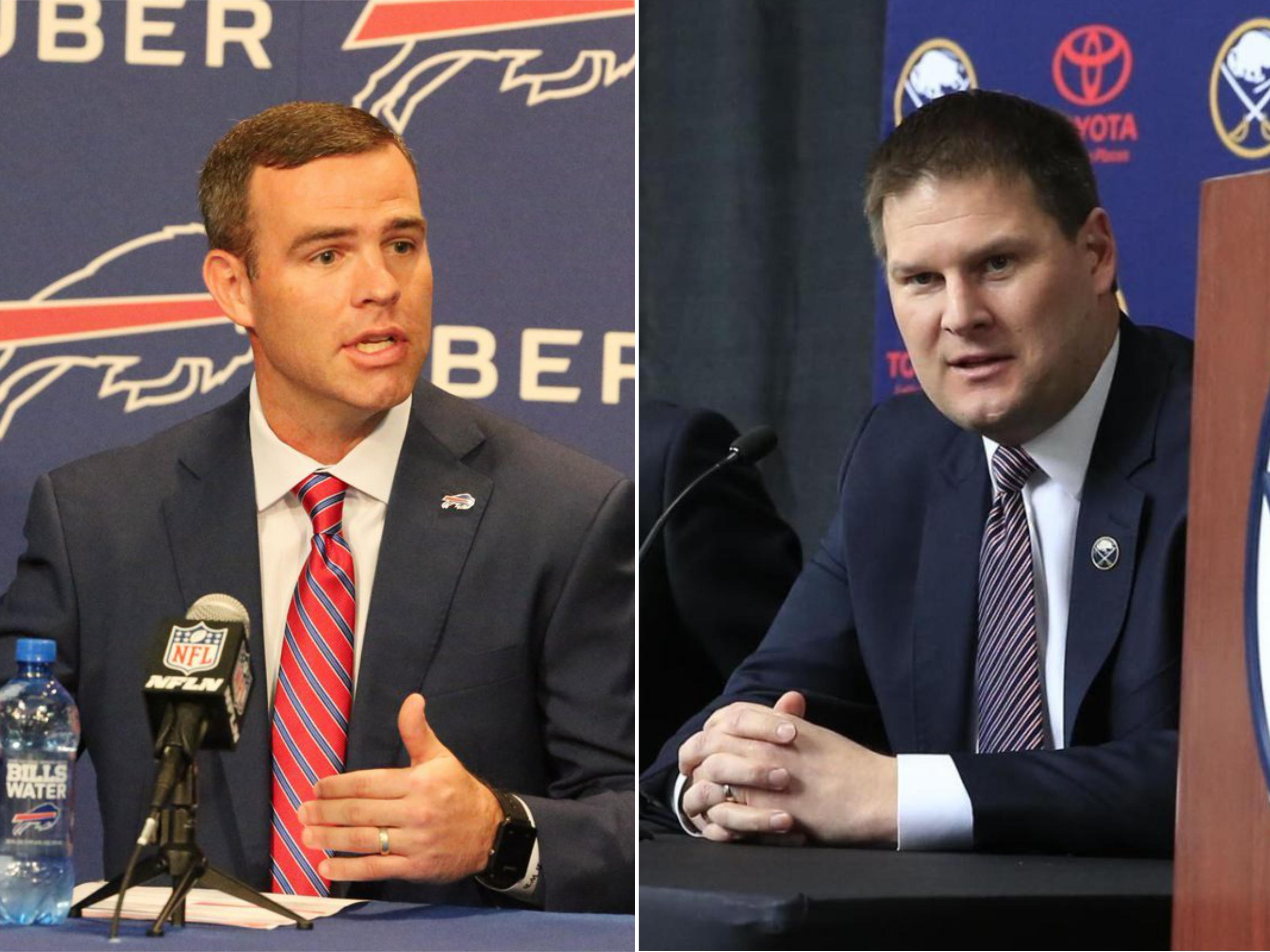 New GMs Brandon Beane (left) and Jason Botterill didn't dazzle us at their introductory news conferences, and that's totally cool. (James P. McCoy and Harry Scull Jr./Buffalo News)