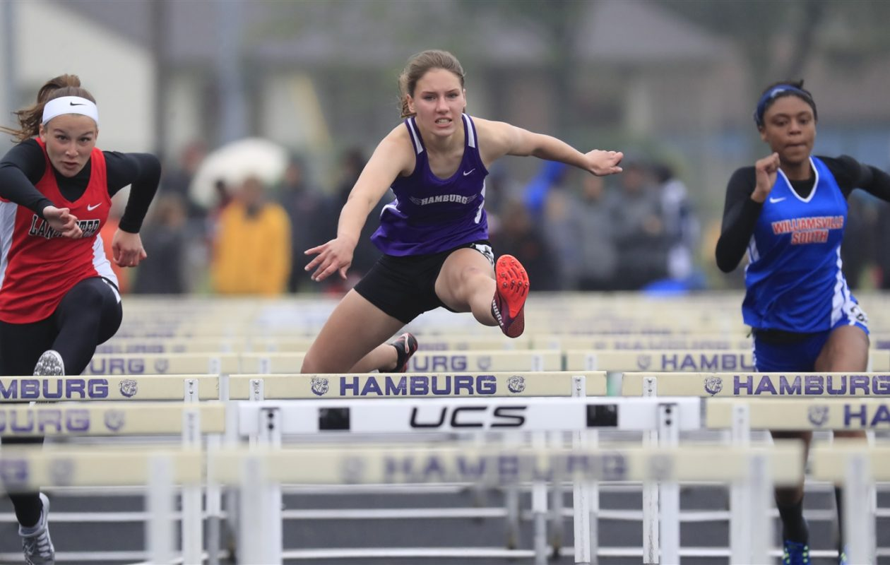 Madelyn Kruzka from Hamburg won her heat of the 110 meter hurdles at the ECIC Track and Field Championships. (Harry Scull Jr./Buffalo News)
