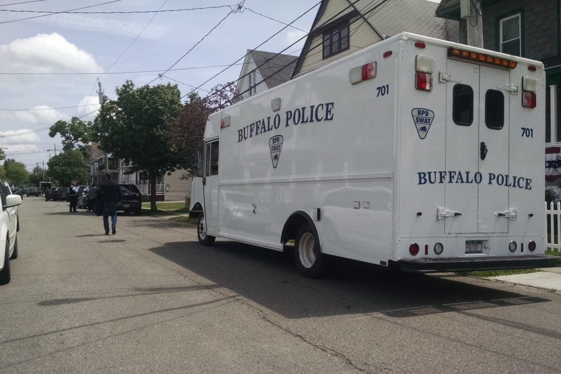 The scene at Duerstein Street on Sunday afternoon. (Joseph Popiolkowski/Buffalo News)