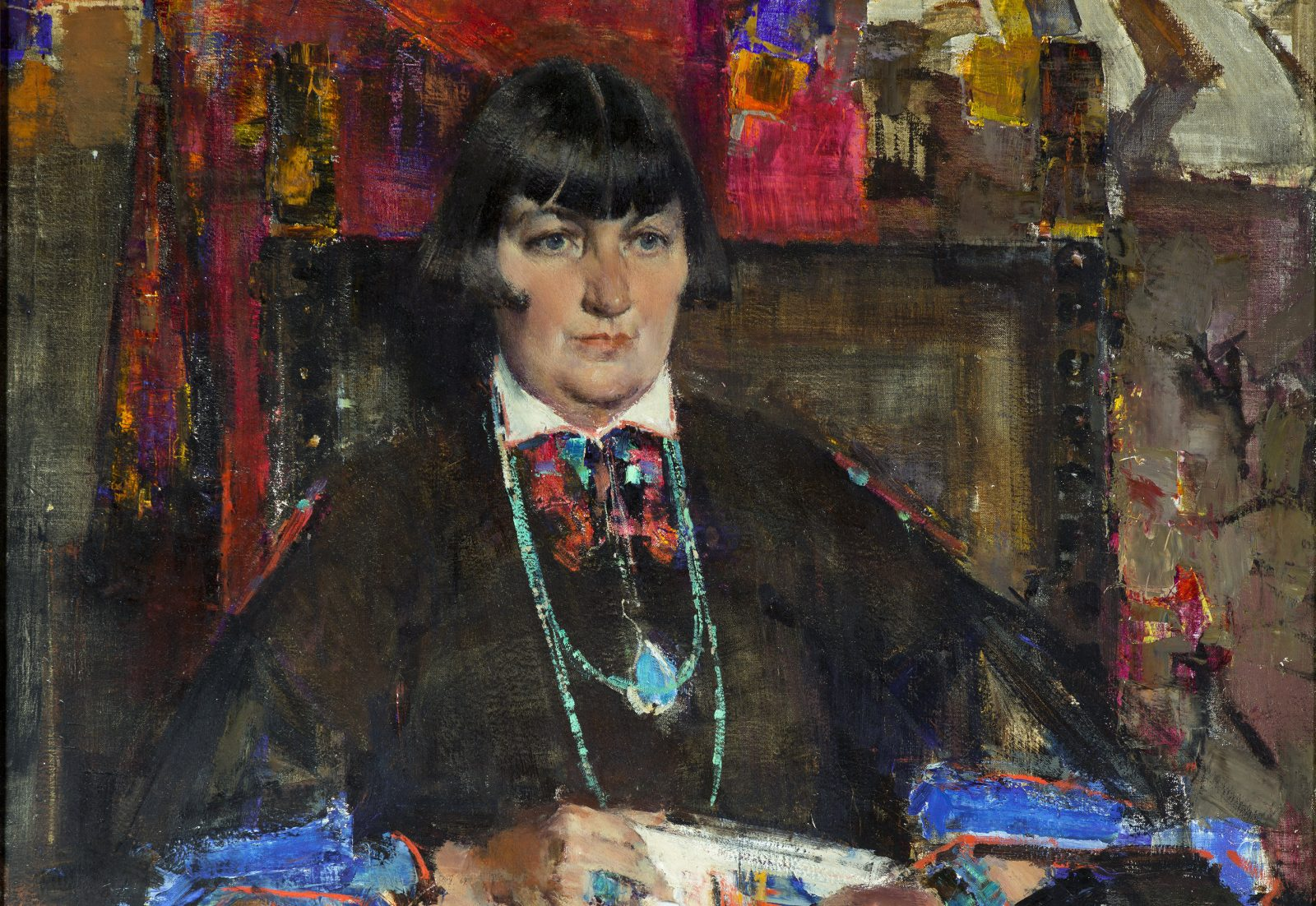 "Nicolai Ivanovich Fechin's 1927 oil portrait of Buffalo-born patron Mabel Dodge Luhan is on view in the Burchfield Penney Art Center's exhibition ""Mabel Dodge Luhan & Company: American Moderns and the West."""