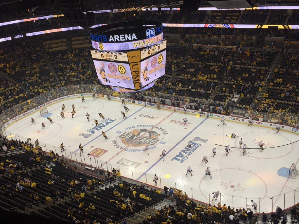 The Penguins and Predators warm up prior to Game Two in PPG Paints Arena (Mike Harrington/Buffalo News).