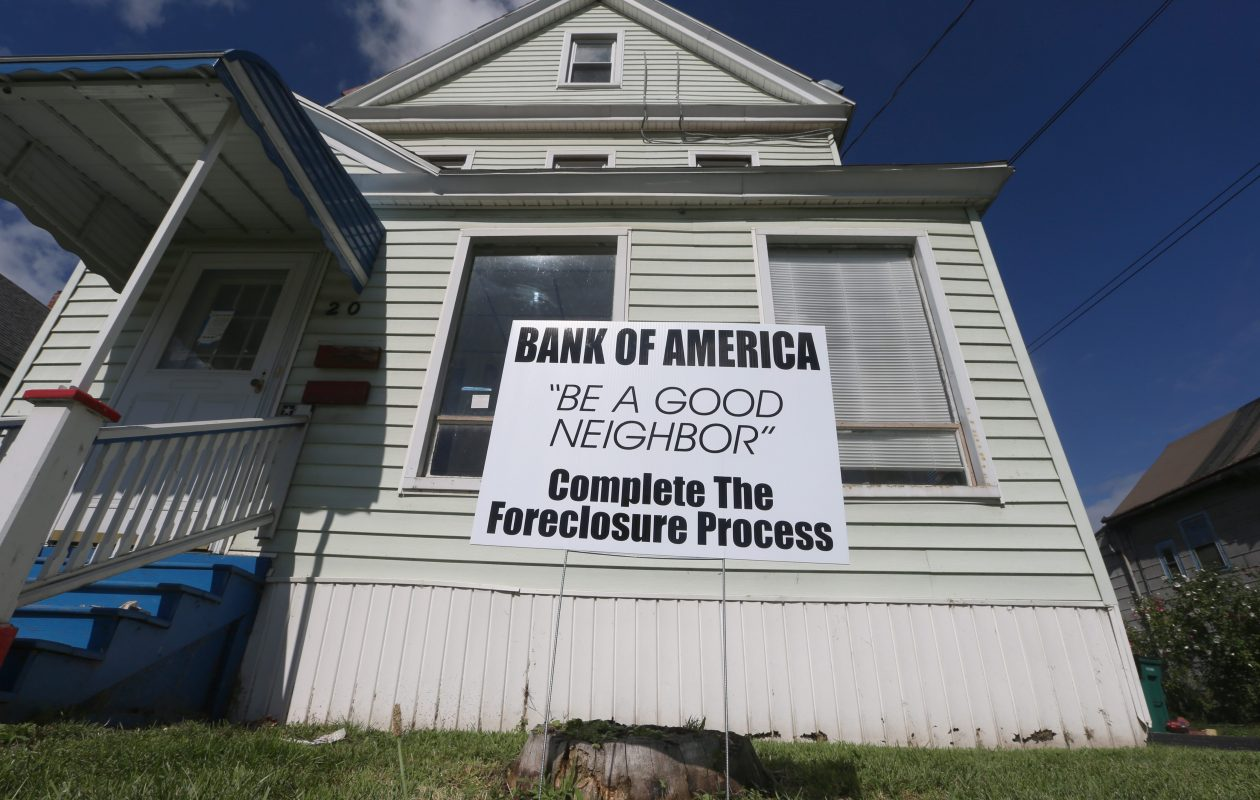 Buffalo installs signs on zombie properties  identifying the banks that initiated the proceeding. (John Hickey/News file photo)