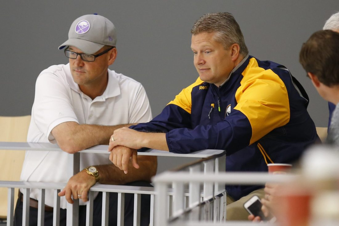 Bob Woods, right, was credited with helping Dan Bylsma build the top-ranked power play. (Harry Scull Jr./Buffalo News file photo)