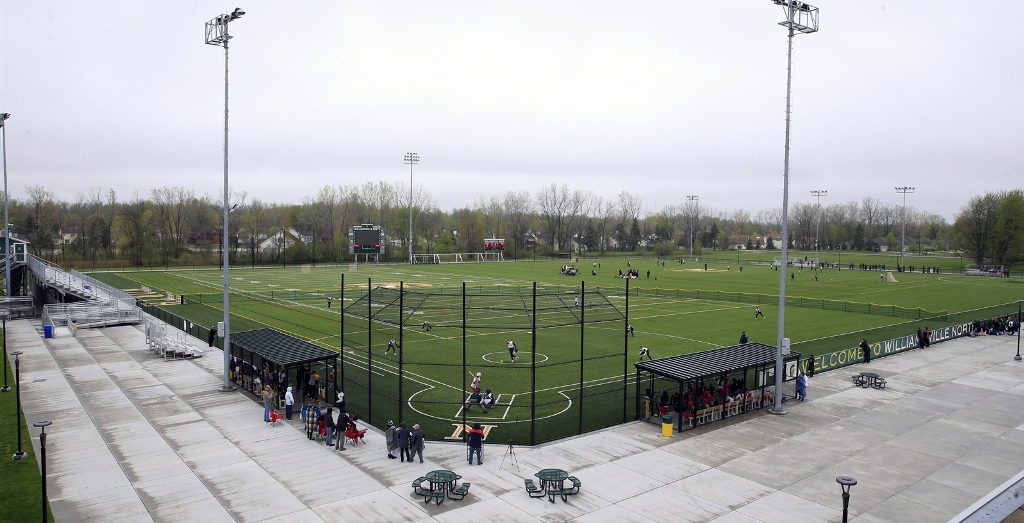The athletic complex at Williamsville North – the first of three slated for the district – opened in September with nearly 300,000 square feet of artificial turf to accommodate football, soccer, field hockey, softball and lacrosse. The venue also includes bleachers, a press box, field lights, restrooms, a concession area and a video scoreboard.. (Harry Scull Jr./Buffalo News)