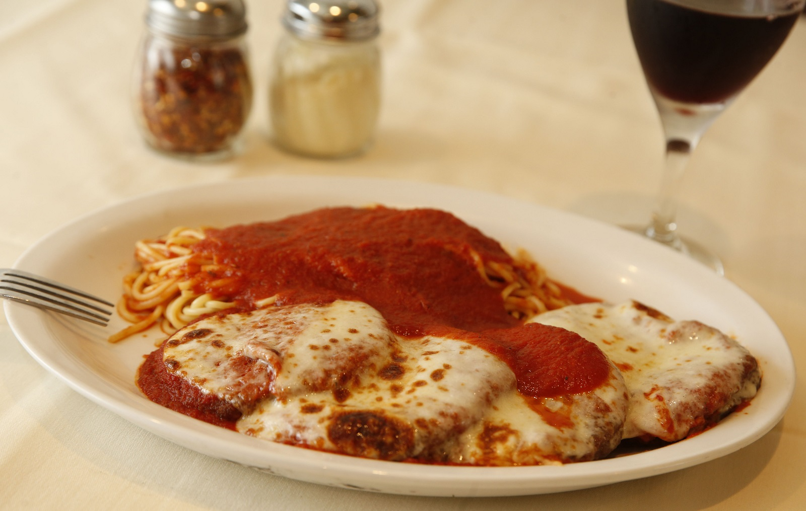 The lasagna is layers of pasta filled with ricotta cheese and meat filling. (Sharon Cantillon/Buffalo News)