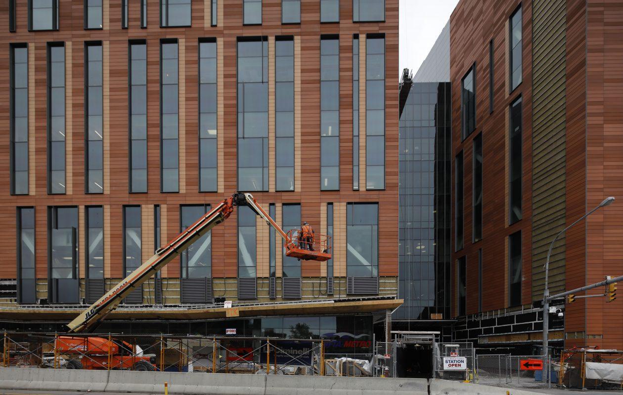 Work continues on the new UB medical school under construction on the Buffalo Niagara Medical Campus.  (Derek Gee/Buffalo News)