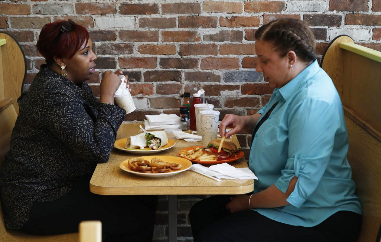 Christin Farrow, left, and Tiffany Brown have lunch at Jaz and Jacks. (Sharon Cantillon/Buffalo News)