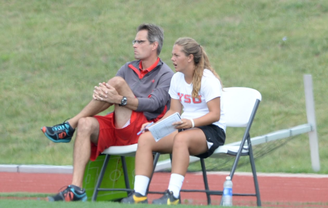 Megan Giesen, right, has been hired as an assistant at UB. (photo via YSU)
