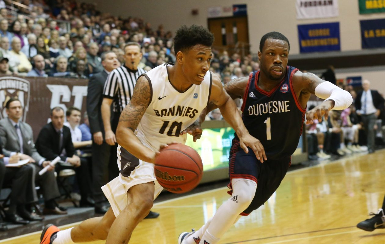 Bona's Jaylen Adams was nominated for the 2018 Bob Cousy Point Guard of the Year Award. (Harry Scull Jr./Buffalo News File Photo)