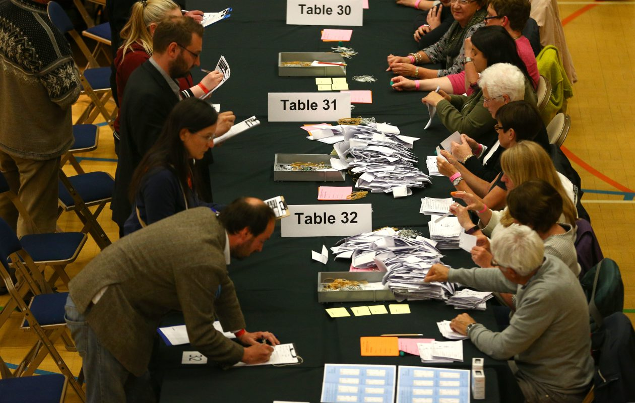 Ballot papers are checked ahead of the count at the Westmoorland and Lonsdale constituency count at Kendal Leisure Centre on June 8, 2017 in Kendal, United Kingdom. Members of the public today went to the polls after a snap election was called by the Conservative Party Government, led by Theresa May. (Photo by Dave Thompson/Getty Images)