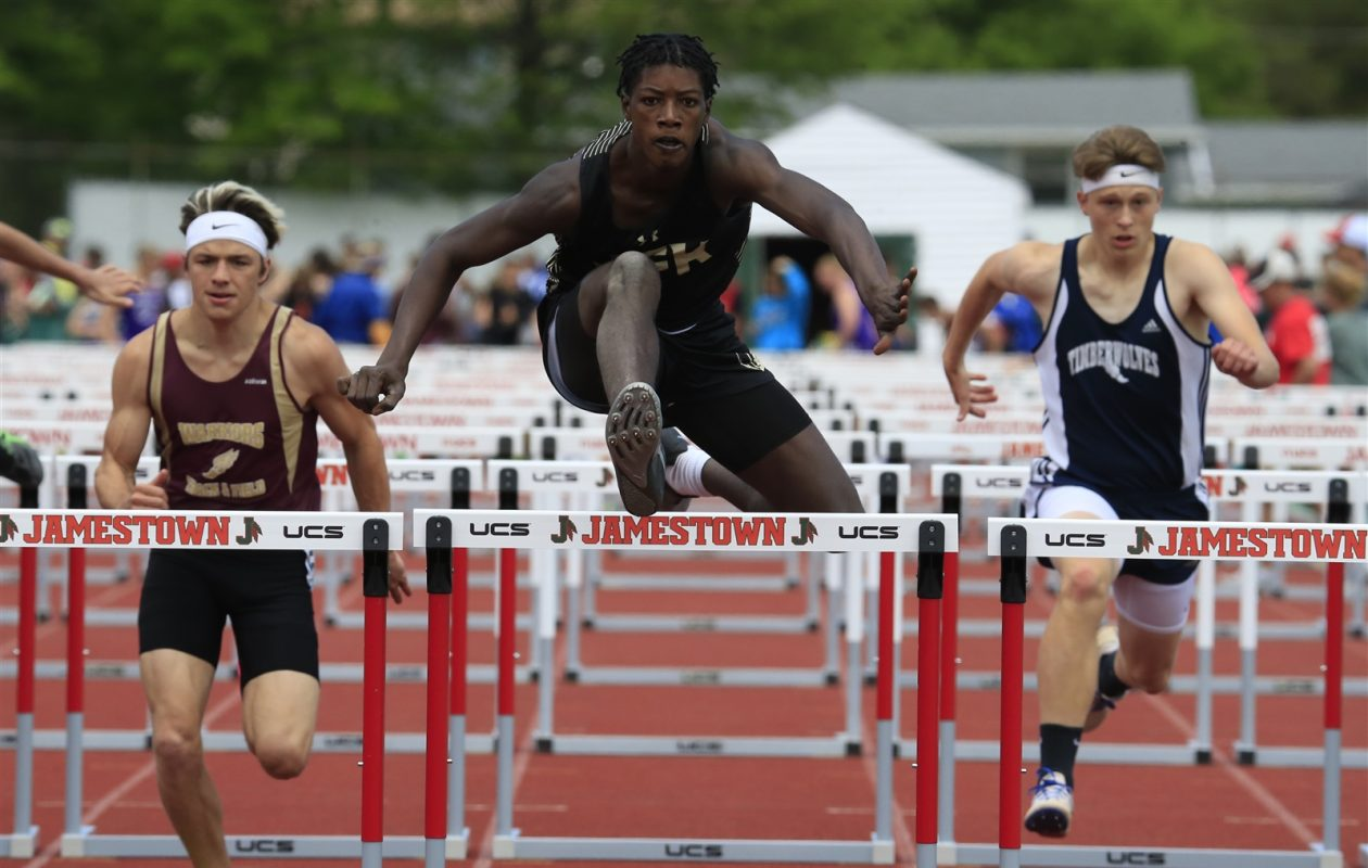 JFK junior Shevaughn Allen, seen here in the Division II 110-meter hurdle prelims, won the D-II Section VI title in the triple jump on Friday. (Harry Scull Jr./Buffalo News)