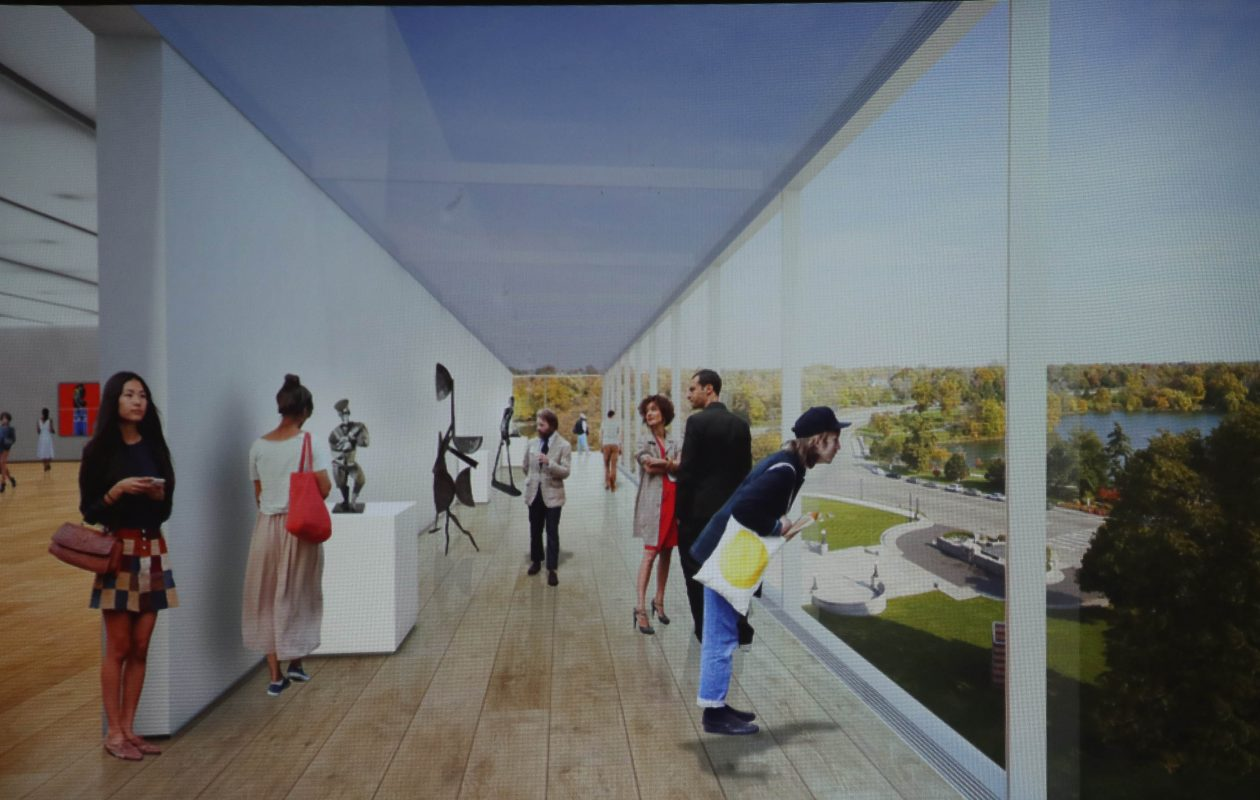 New glass-walled building will provide elevated, 360-degree views of Delaware Park and the neighborhood.