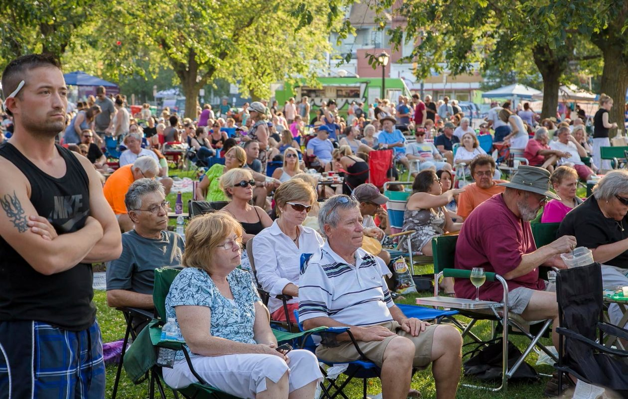 A crowd turned out Tuesday, July 28, 2015, for the free summer music series on Bidwell Parkway.  (Don Nieman/Special to The News)