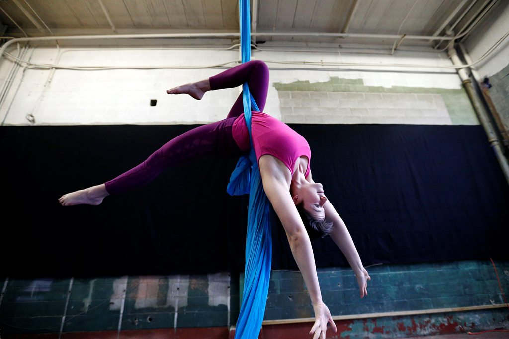 """Bird's Nest Circus Arts will bring performers to the Boardwalk Bazaaar at Canalside. Emilee Philips, a founding member of Bird's Nest Circus Arts,  says """"we hope to inspire others to join us.""""    (Mark Mulville/The Buffalo News)"""