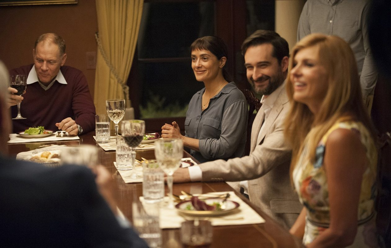 From left to right, David Warshofsky, Salma Hayek, Jay Duplass and Connie Britton in 'Beatriz at Dinner.' (Lacey Terrell, Roadside Attractions)