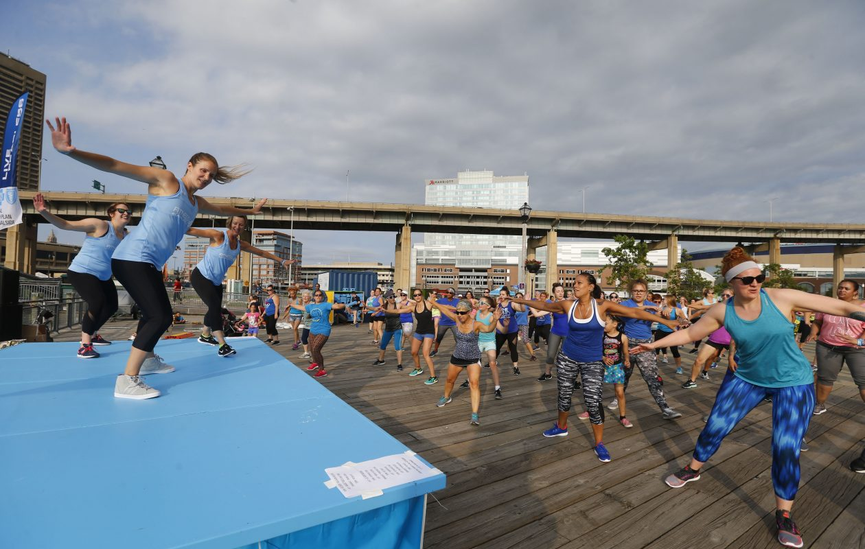 This is the last week for free Canalside fitness classes this year, including Zumba. (Mark Mulville/Buffalo News)