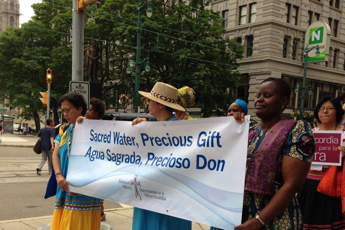 Sisters of Mercy from the Americas are holding their once-per-six-years governance meeting in Buffalo. They chose to carry a 'clean water' theme for this week's meeting and took to Buffalo streets Friday. (T.J. Pignataro/Buffalo News)