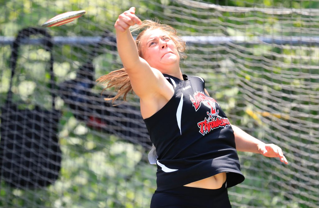 Lancaster's Brianna McKenzie finished second overall in the girls discus throw. (Harry Scull Jr./The Buffalo News)