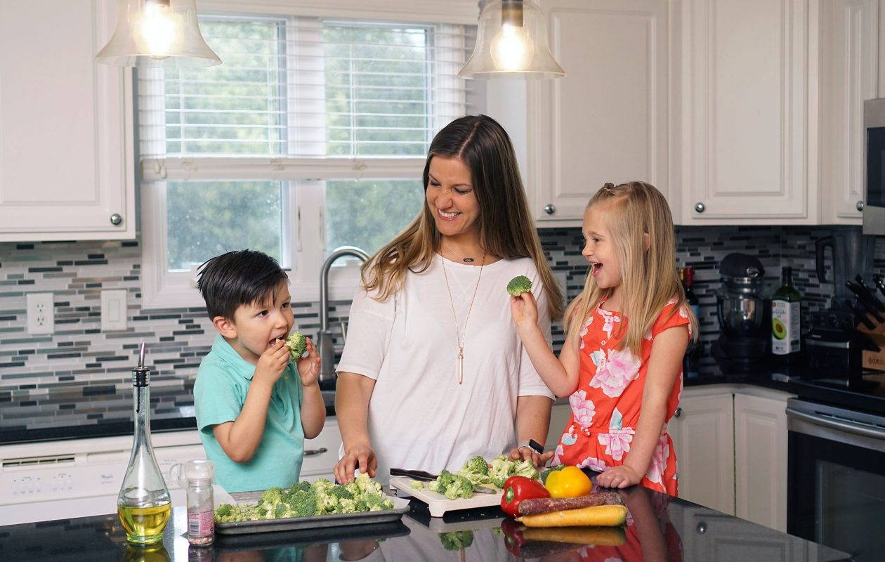 Dietician Erin Burch involves her kids in the kitchen — and while grocery shopping — to get them interested in healthy foods.