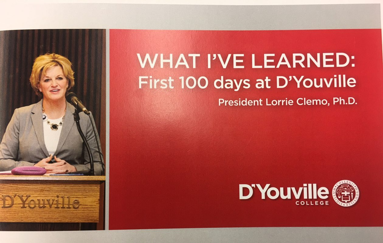 Cover of brochure chronicling new DYouville College presidents first 100 days on campus