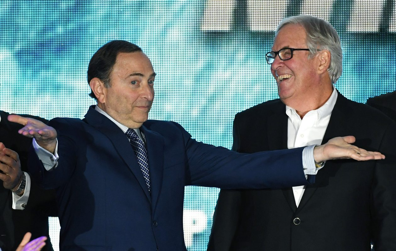 NHL Commissioner Gary Bettman, left, and Vegas owner Bill Foley will unveil the newest team Wednesday night. (Getty Images)