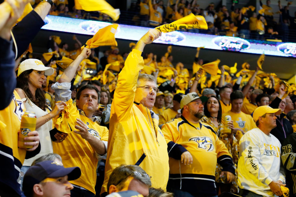 Nashville Predators fans  at Bridgestone Arena react during Game Six of the Western Conference Final against the Anaheim Ducks during the team's run to its first Stanley Cup finals appearance.  (Getty Images)