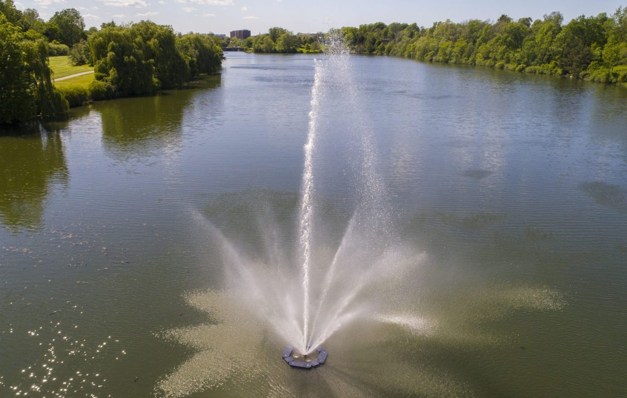 The fountain in Hoyt Lake is one of the most photographed features in Delaware Park, according to the Olmsted Conservancy. (Derek Gee/Buffalo News)