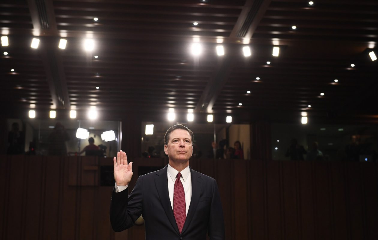 Former FBI Director James Comey testifying before  the Senate Intelligence Committee last year. (Matt McClain/Washington Post)
