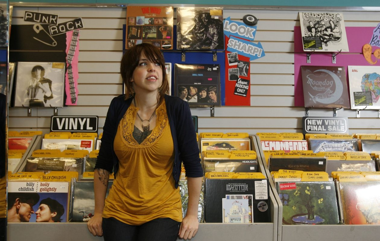 Record Theatre store manager Kelly Mourdant. The long-serving chain has announced that it will close its sole remaining store in the coming weeks. (Sharon Cantillon/Buffalo News)