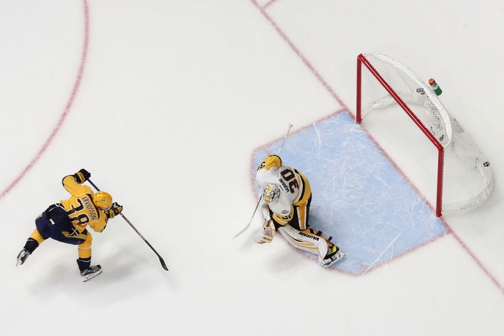 Penguins goalie Matt Murray was burned on the glove side by Nashville's Viktor Arvidsson during the second period of Game Four (Getty Images).