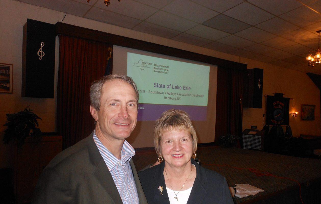 Assemblyman Sean Ryan and Sea Grant Education Coordinator Helen Domske at the 2015 Annual State of Lake Erie Meeting in the Southtowns Walleye Association clubhouse. (News file photo)