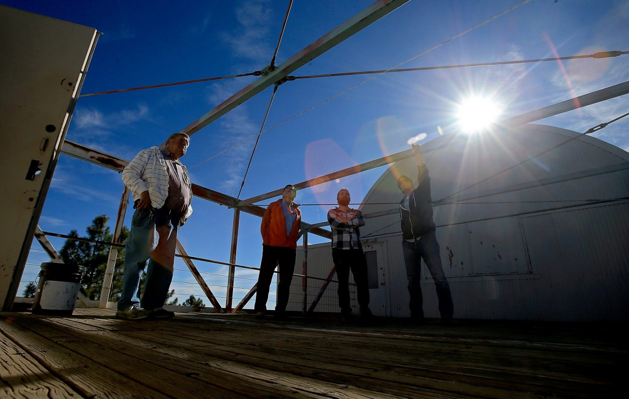 Scientists talk on the rooftop of the Bernard M. Oliver Observing Station in the Los Padres National Forest where they are collecting data to assess the quality of the air blowing ashore from the Pacific Ocean near Carmel, Calif., on January 7, 2015. (Luis Sinco/Los Angeles Times/TNS)