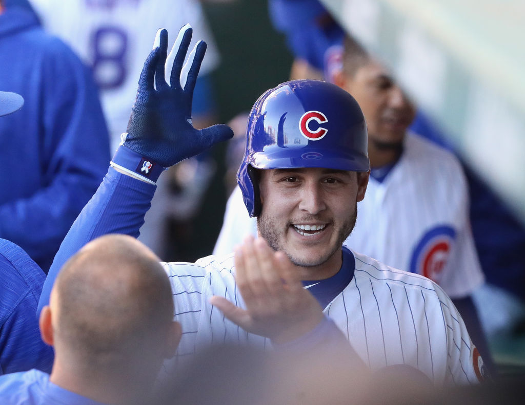 Anthony Rizzo celebrates his leadoff homer Tuesday in Wrigley Field, but there haven't been many smiles for the Cubs this season (Getty Images).
