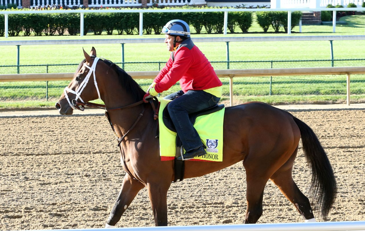 State of Honor gallops in the days before the Kentucky Derby. Photo Credit: Coady Photography/Churchill Downs