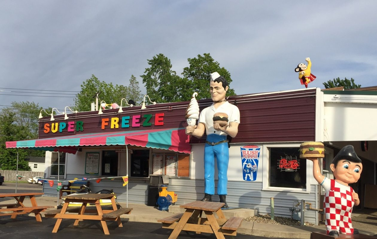 The Muffler Man greets customers outside Super Freeze, in Derby, and more memorabilia lines the walls inside. (Elizabeth Carey/Special to The News.)
