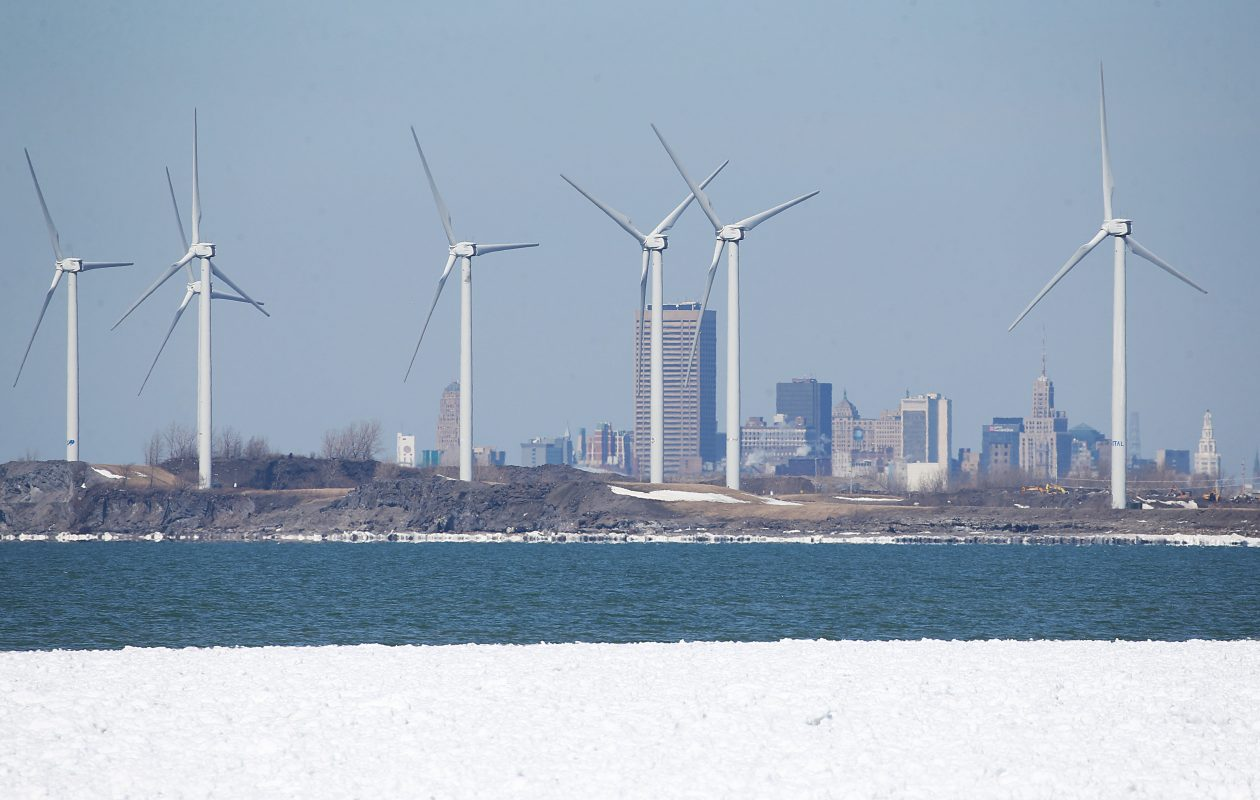 Wind turbines along Lake Erie south of Buffalo, pictured on  Thursday, March 23, 2017. (Sharon Cantillon/Buffalo News)
